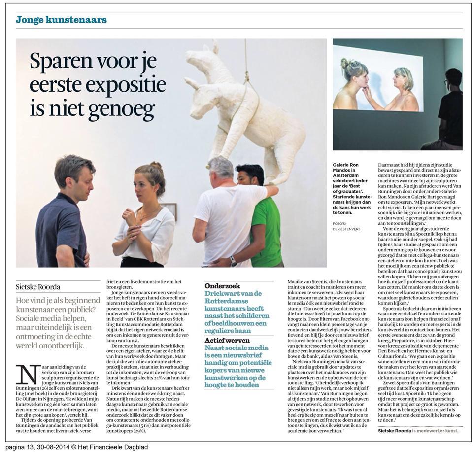 Artikel financieel dagblad. nina spoetnik. 30082014